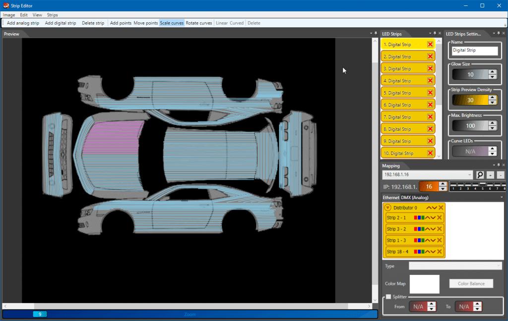 Camaro LED Strip Studio mapping