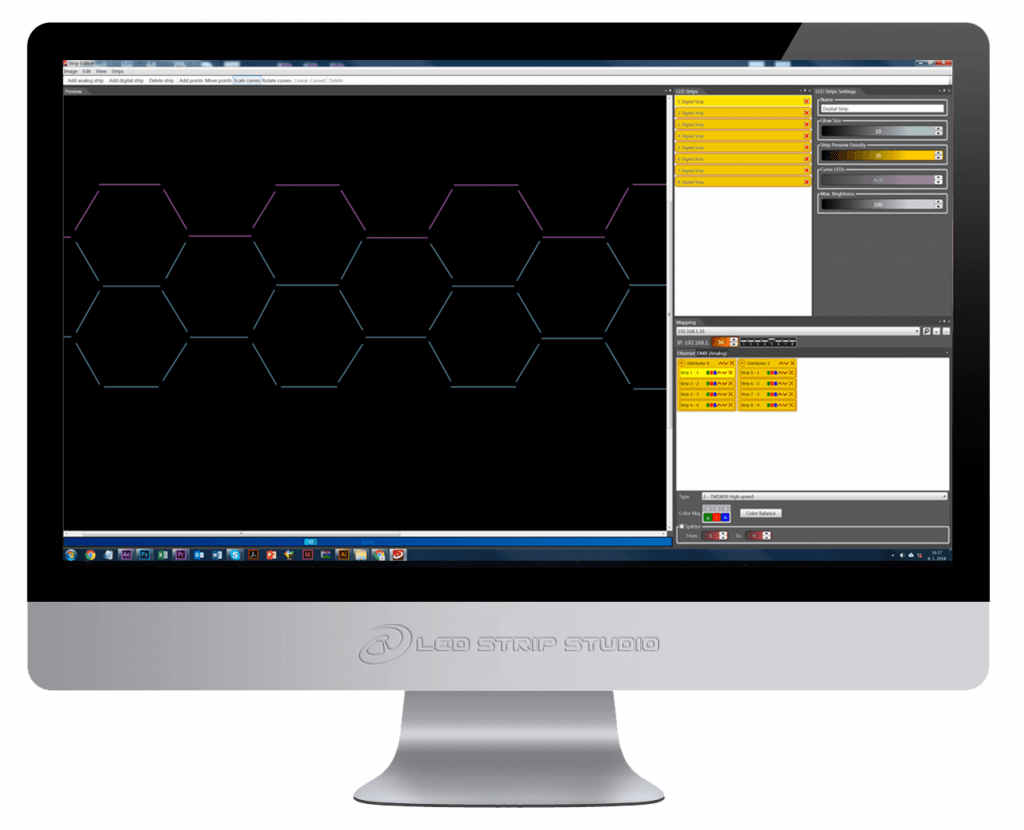LED strip studio mapping software