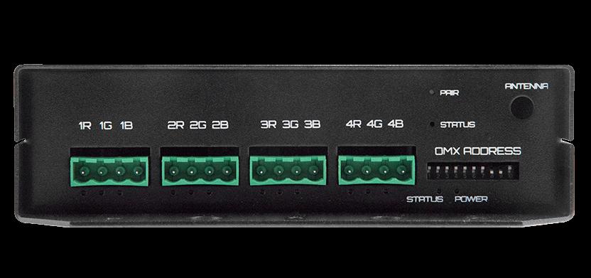 Mr. Dimmer - back view - 12 RGB channels, status LEDs, DMX address DIP switch