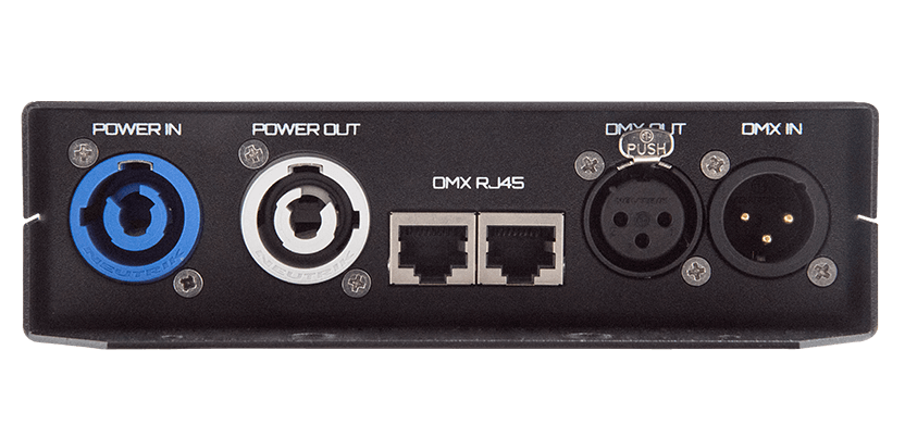 Mr. Dimmer - front view - Power IN, Power OUT, DMX RJ 45 IN OUT