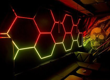 LED 6gons installation in the club disco bar