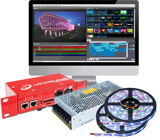 demo kit lec 3, power supply 150-5V, led strips RGB 42/m, software license