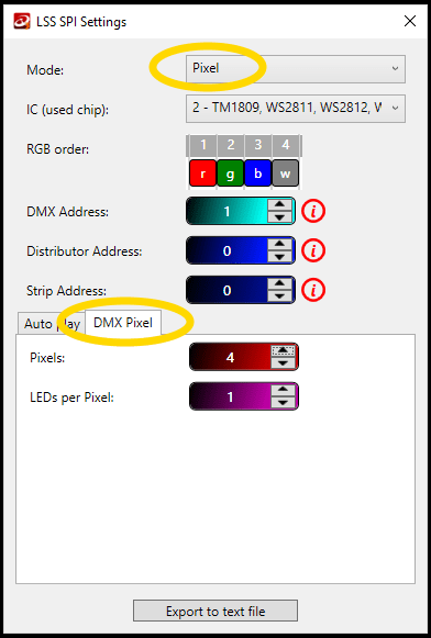 Printscreen from LedStripStudio Software showing where in LSS SPI Settings you can set up the Pixel mode preferences.