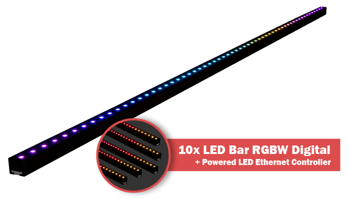64 RGBW LEDs bar + controller with power supply inside