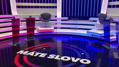 "Completed studio with a name of the TV show on the floor - ""Mate Slovo"""