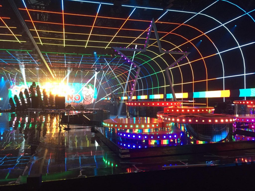 stage on mtv european awards 2019 with LED strips in ceiling