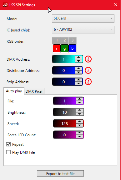 A printscreen from LSS software showing a pop-up window for exporting LSS SPI Settings.