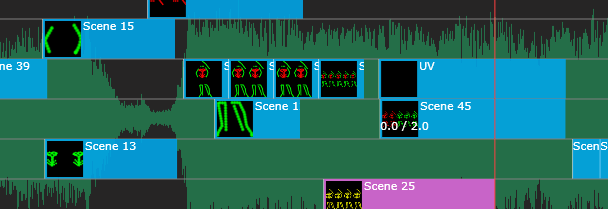 Zoomed preview of a timeline with show lines in standard 40 pixels.