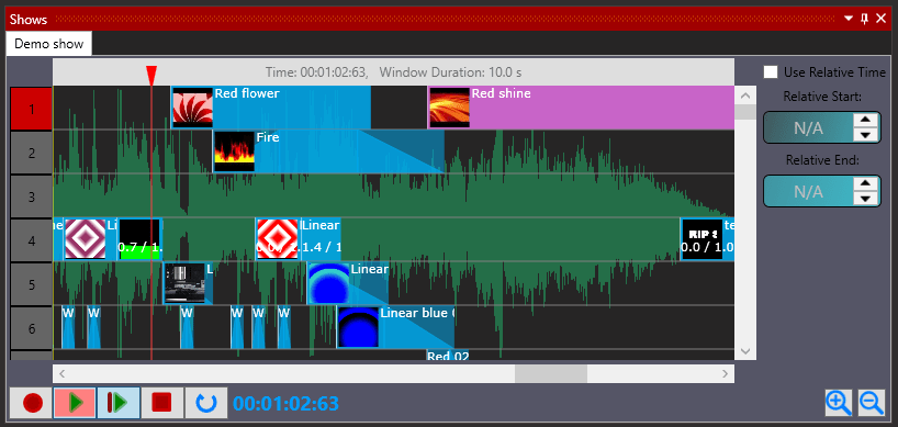 A LED show. Now the timeline of the show is much easier for the eye, with previews of each effect and animation used in the show.